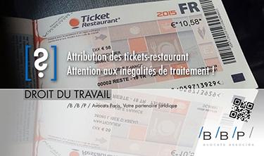 Tickets restaurant, inégalité de traitement - Avocat droit du travail Paris